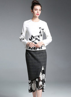 White Slim Embroidered Long Sleeve Top & Plaid Splicing Lace Hollow Out Bodycon Skirt