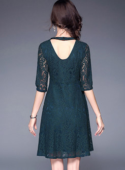 Vintage Half Sleeve Lace Hollow Out Skater Dress