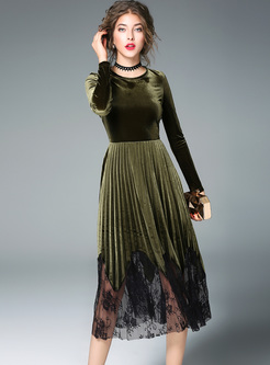 Elegant Velvet Splicing Mesh Long Sleeve Skater Dress