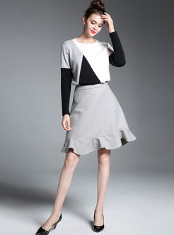 Hit Color Knitted Sweater & Falbala Woolen A-line Skirt