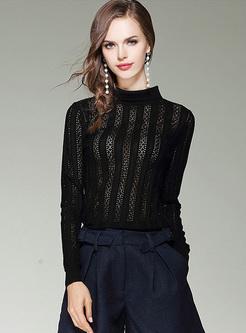 Black Hollow Hook Flower Slim Sweater