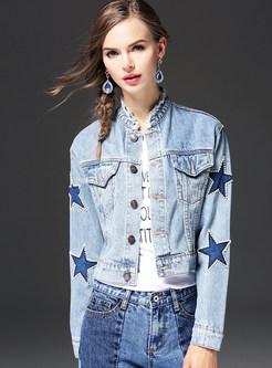 Stylish Star Design Stand Collar Denim Coat