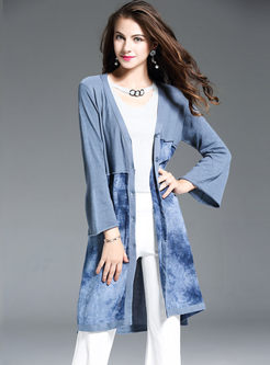 Print Loose Flare Sleeve Sweater Coat