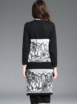 Print V-neck Long Sleeve Sweater Coat