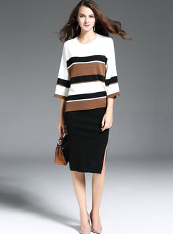 Striped Hit Color Batwing Sleeve Knitted Sweater