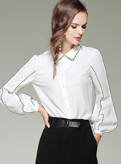 White Brief Lantern Sleeve Lapel Blouse