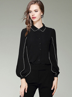 Black Brief Lantern Sleeve Lapel Blouse