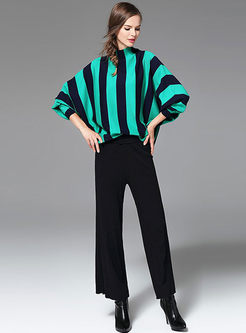 Striped Loose Batwing Sleeve Knitted Sweater