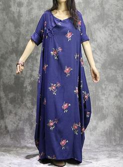 Street Flower Print Oversized Maxi Dress