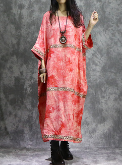 Ethnic Print Bat Sleeve Oversized Maxi Dress