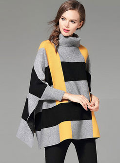 Stylish Hit Color Batwing Sleeve Turtle Neck Loose Sweater