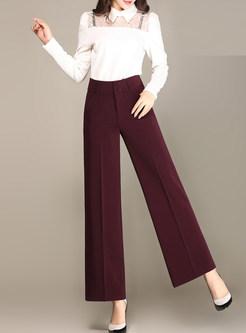 Dark Red Brief Loose Wide Leg Pants