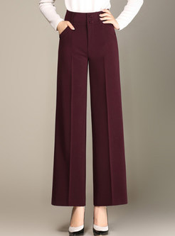 Dark Red Brief Loose Wide Leg Pants