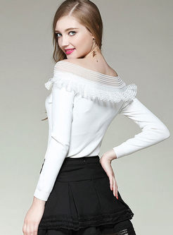 Off Shoulder Splicing Long Sleeve Knitted Sweater