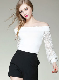 Stylish Slash Neck Lace Splicing Long Sleeve Top