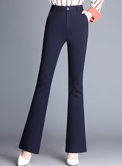 Navy Blue Elastic High Waist Slim Flare Pants