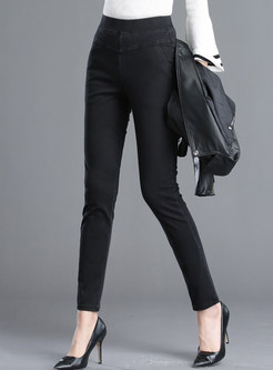 Black Brief Slim Elastic Pencil Pants