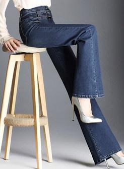 Dark Blue Casual Denim Belted Wide Leg Pants