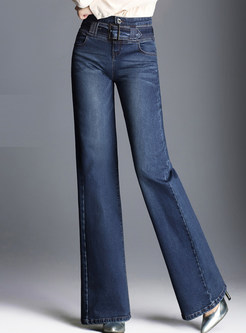 Dark Blue Casual Denim Belted Wide Leg Pants