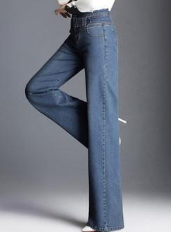 Blue Casual Denim Belted Wide Leg Pants