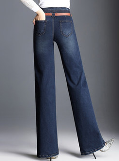 Dark Blue Casual With Pockets Wide Leg Pants