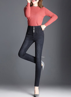 Black Fashion Denim High Waist Pencil Pants