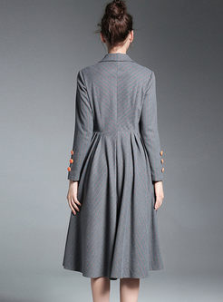 Notched Neck Long Sleeve Plaid Big Hem Skater Dress