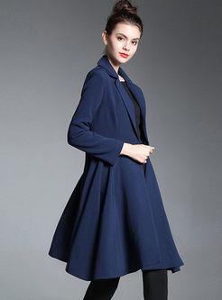 Navy Blue Slim A Line Big Hem Trench Coat