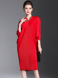 Red V-neck Bat Sleeve Shift Dress