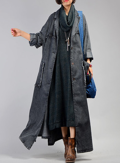 Notched Asymmetric Long Denim Trench Coat
