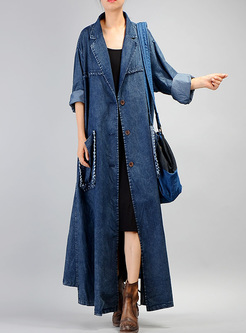 Long Notched Neck Asymmetric Denim Trench Coat