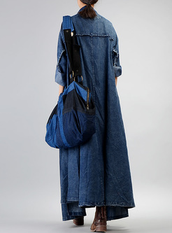 Plus Szie Asymmetric Long Denim Trench Coat
