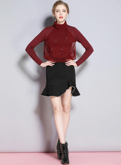 Red Slim Beaded Turtleneck Sweater