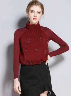 Red Slim Beaded High Neck Sweater