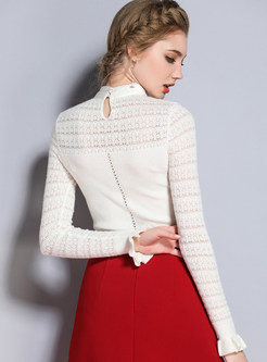 Bow-front Hollow Out Sweater