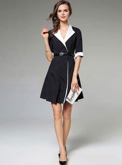Notched Belted Half Sleeve Skater Dress