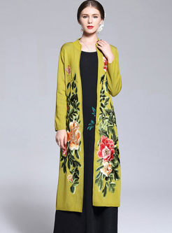 Ethnic Embroidery Long Sleeve Wool Knitted Coat