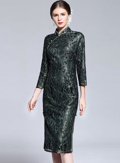 Ethnic Improved Cheongsam Lace Bodycon Dress