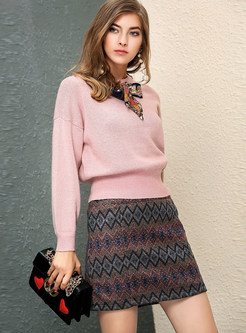 Fashion Pink O-neck Scarf-detail Sweater & Slim Print Skirt