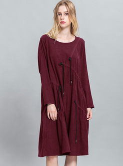 06245f4fc376 Casual Loose Tassel Long Sleeve Shift Dress ...