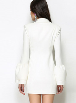 White Sexy Bell Sleeve Gathered Waist Skater Dress