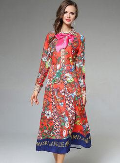 Floral Print Bowknot Lantern Sleeve Maxi Dress
