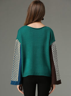 Hit Color Slit Flare Sleeve Sweater