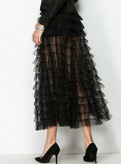 Black Sexy See Through A-line Tiered Skirt