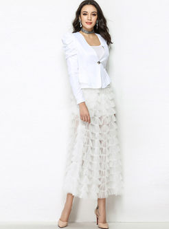 White Sexy See Through A-line Tiered Skirt