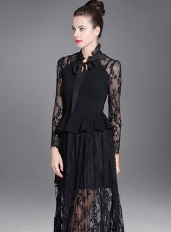 Black Lace Perspective Hollow A-line Dress