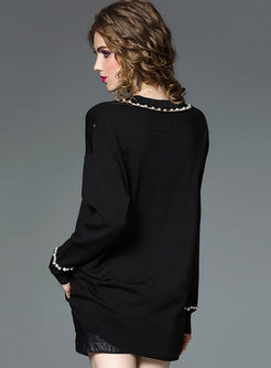 Brief Black V-neck Knitted Top