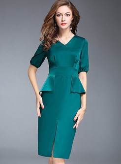 Pure Color Split Half Sleeve Bodycon Dress