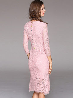 Pink Lace Embroidery Bodycon Mermaid Dress