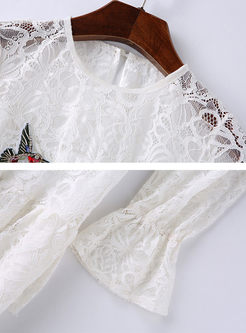 White Lace Flare Sleeve Falbala Skater Dress